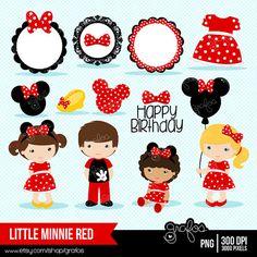 LITTLE MINNIE ROJA Digital Clipart Minnie Red Dress por grafos