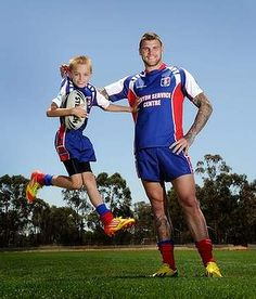 Canberra Raiders fullback Josh Dugan promoting junior rugby league registration day in the national capital. Rugby League, Rugby Players, Father Son Pictures, Father And Son, Raiders, Cheerleading, Tennis, Blues, Soccer