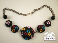 Collana fimo fiori cameo/necklace polymer clay flowers cameo