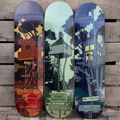 """Treehouse"" skateboard serie by Chocolate Skateboards via The Daily Board Finger Skateboard, Skateboard Deck Art, Skateboard Design, Old School Skateboards, Cool Skateboards, Chocolate Skateboards, Skateboard Companies, Skate Art, Skate Decks"