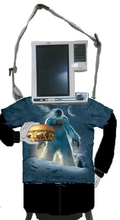 Puritan Bennett 840 Ventilator (in street clothes) enjoys a tasty cheeseburger (he is always thinking about food, hence his hefty stature)