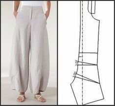a selection of patterns in the style of boho - Kleidung Ideen Sewing Pants, Sewing Clothes, Dress Sewing Patterns, Clothing Patterns, Fashion Sewing, Diy Fashion, Pants Pattern, Diy Clothing, Fashion Pants