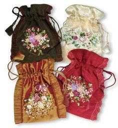 ribbon roses gift pouches