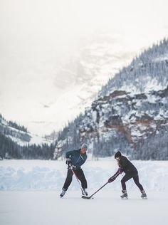 Hockey on Lake Louise in Banff National Park, Alberta