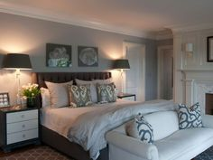 Coastal bedroom with upholstered headboard. I love that this room is bright and light even with a big dark colored bed! May be colors of my room in my college house Gray Bedroom Walls, Dream Bedroom, Home Bedroom, Bedroom Decor, Gray Walls, Bedroom Ideas, Bedroom Colors, Calm Bedroom, Bedroom Sofa