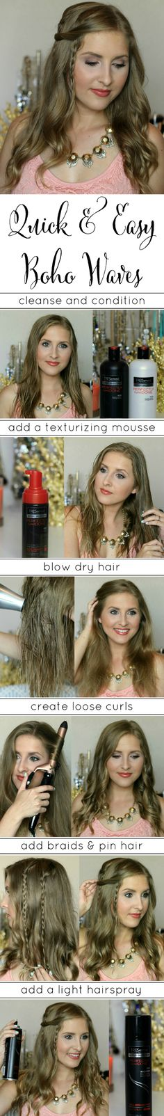 Learn how to create quick and easy braided boho waves with @tresemme and @ashleynicholas! #spon