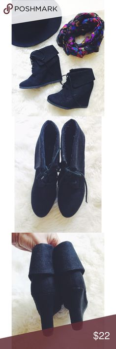 Mossimo Supply Co. Suede Fold Over Wedges Chic and stylish! These wedges are the perfect pairing to a pair of skinny jeans or a little dress and jacket! Fold over detailing, lace up front and a faux suede material. Gently used. Great condition. Mossimo Supply Co Shoes Ankle Boots & Booties