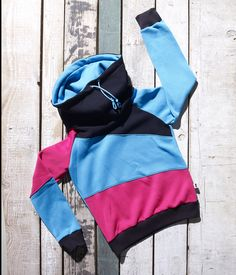 Pink, blue and black high neck pullover Melzo by Bosis