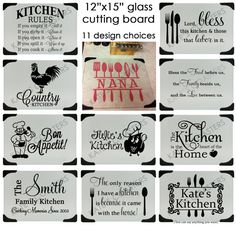 Personalized glass cutting board with 11 design choices, by KatesCoasters… Silhouette Curio, Silhouette Vinyl, Silhouette Cameo Projects, Silhouette Design, Diy Cutting Board, Glass Cutting Board, Vinyl Cutting, Vinyl Crafts, Vinyl Projects
