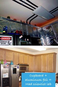 A couple of years ago, we covered the cupboards with aluminum foil for our Mad Scientist Lab theme, Halloween party. What a great idea! Amy This would look very cool at your house. Asylum Halloween, Alien Halloween, Halloween Queen, Halloween 2014, Halloween Party Decor, Holidays Halloween, Halloween Themes, Haunted Halloween, Halloween Prop