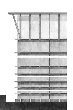 Elevation Rendering of the Ricola Storage by Herzog & de Meuron - Mona El Amin 2012 Architecture Drawings, Architecture Plan, Architecture Details, Classic Architecture, Alison And Peter Smithson, Plan Drawing, Architectural Section, Built In Storage, Design Process