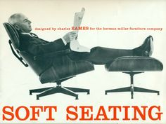The cover page of this very early, Eames Office designed, Eames lounge chair and ottoman, brochure. The most desirable of the vintage brochures, elegantly printed. Photo by Charles Eames Charles Eames, Chair Eames, Chair And Ottoman, Chair Bench, Desk Chairs, Egg Chair, Chair Cushions, Soft Seating, Lounge Seating