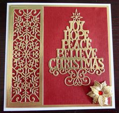 handmade Christmas card ... red with lacy gold foil die cuts ... tree of tiered words ...  column of lacy snowflakes ...