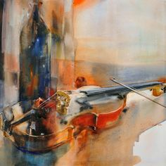 Marie Line Montécot Violin Painting, Watercolour Painting, Music Drawings, Abstract Drawings, Inspiration Art, Color Pencil Art, Canvas Art, Modern, Artwork