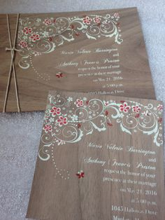 We've been lurking around invitation designer Pocketations and this wooden veneer invite caught our eye! Designer Heather specializes in custom work and engraving. Think wood or acrylic favors and tags, too. Check out the fun: https://www.etsy.com/listing/195619894/walnut-wood-veneer-invitation  Wood leaf favors: https://www.etsy.com/listing/190853506/wood-leaf-favor-tag