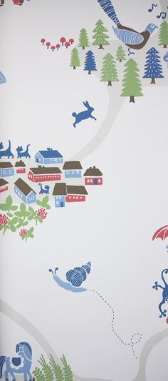 Emil Wallpaper A pretty wallpaper featuring villages with farmyard animals in light blue on white.