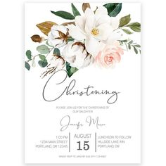 Magnolia Christening Invitation