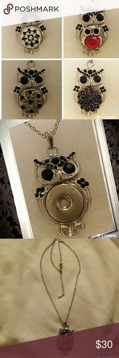 "Owl snap button necklace with 4 snap buttons Owl with black rhinestones snap button necklace. Comes with 4 snap buttons shown. Make 4 different styles with one necklace.   20"" chain with 2"" extender.  Pendant is 2"" L x 1"" W. Use interchangeable snap buttons to create a unique necklace for all occasions.  Create a new look everyday.  Fits 18mm and 20mm snap buttons. Extra Snap buttons sold separately.  NWOT Jewelry Necklaces"