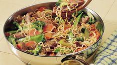Ramen Stir-Fry with Boneless Sirloin, Vegetable Oil, Water, Ramen Soup Mix, Vegetables, Stir Fry Sauce.