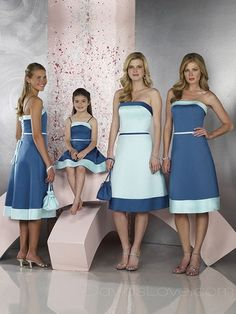 A-Line Strapless Short Satin Bridesmaid Dress