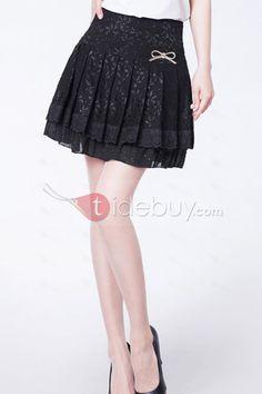 ブラックレースプリーツスカート