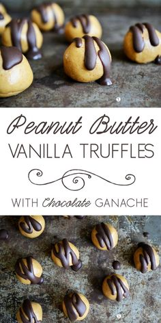 Drooling!!! Easy, decadent, and healthy! These grain-free, dairy-free, and refined sugar-free Peanut Butter Vanilla Protein Truffles with Chocolate Ganache are the perfect treat. #glutenfree #dairyfree