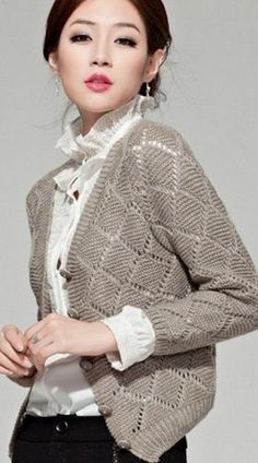 Geometric pattern for jackets Free Knitting Patterns For Women, Knit Patterns, Knitting Stitches, Hand Knitting, Knit Vest Pattern, Knit Jacket, Cardigans For Women, Knit Crochet, Crochet Vests