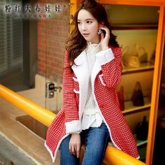 116.45$  Watch here - http://alik1l.worldwells.pw/go.php?t=32569404072 - dabuwawa 2016 winter warm coat plaid slim fashion casual jacket women pink doll