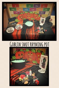 Goblin Snot Rhyming Pot. Pairs of items for children to pick out. If it rhymes they keep it, if not, put it back.