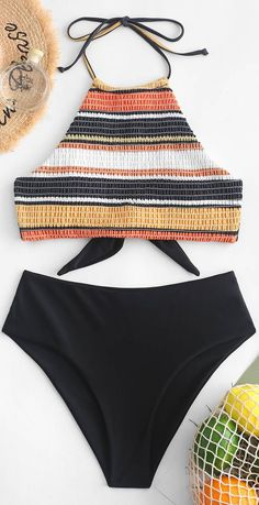 ZAFUL Striped Halter Smocked Tankini Swimsuit ~ Different Fashion Styles With Pictures Bathing Suits For Teens, Swimsuits For Teens, Best Swimsuits, Cute Bathing Suits, Women Swimsuits, Summer Bathing Suits, Summer Suits, Teen Bikinis, White Bikinis