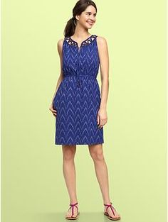 Ikat cut-out collar dress | Gap
