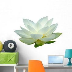 Create a relaxing refuge in your home with lotus flower wall art. You can use lotus flower wall decor in any room of your home but especially bedrooms, living rooms and bathrooms.  Although I love it in my office.  You can find cute lotus flower clocks, lotus flower wall tapestries, lotus flower wall decals, lotus flower wall murals that loook cute. White Lotus Flower Wall Mural by Wallmonkeys Peel and Stick Graphic (36 in W x 24 in H) WM78209