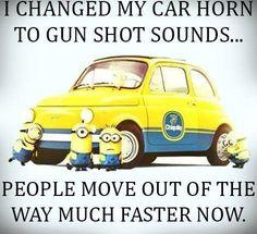 Minion, car, horn, gun shot sounds。◕‿◕。 See my Despicable Me Minions pins https://www.pinterest.com/search/my_pins/?q=minions