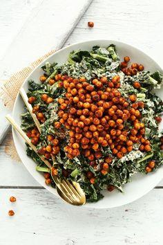Garlicky Kale Salad with Crispy Tandoori Roasted Chickpeas
