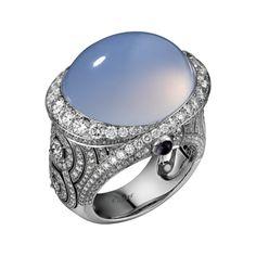 CARTIER Sortija Alta Joyería Sortija Violine - platino, una calcedonia talla cabujón de 24,07 quilates, amatistas talla cabujón, diamantes talla brillante.