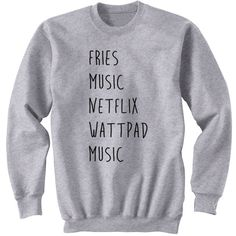Fries Music Netflix Wattpad Sweater Crew Neck Sweatshirt 5sos Band... (180 HRK) ❤ liked on Polyvore featuring tops, hoodies, sweatshirts, black, women's clothing, cuff shirts, faded shirt, roll top, vinyl shirt and woven shirts