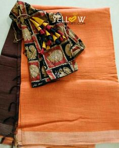 Dual shaded silk linen saree teamed up with kalamkari blouse material as shown in the picture @ 3999 INR Kindly write to us at teamyellow Cotton Saree Blouse, Saree Blouse Neck Designs, Saree Blouse Patterns, Designer Blouse Patterns, Saree Dress, Simple Sarees, Elegant Saree, Saree Styles, Saree Collection
