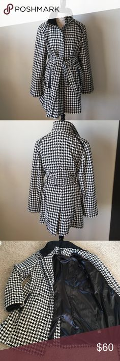 Warm Wool Blend Houndstooth Coat Fully lined knee length wool blend belted houndstooth coat by Apt 9.  Excellent used condition.  Dry clean only. Apt. 9 Jackets & Coats