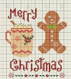 Merry Christmas Gingerbread Man/Cocoa Mug cross stitch More