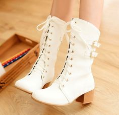 """Fashion women lace metal buckle martin boots CuteKawaiiHarajukuFashionClothing&AccessoriesWebsite.SponsorshipReview&AffiliateProgramopening!wonderful cool boots so fashion Totally applies to you black or white?use this coupon code """"cute8"""" to get all 10% off shop now for lowest price."""