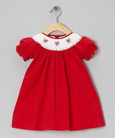 6bf5b441b00f Fantaisie Kids Red Candy Cane Corduroy Bishop Dress - Infant & Toddler