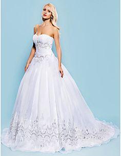Vestido de Boda - Blanco Corte Evasé Tribunal - Sweetheart Organza Tallas Grandes