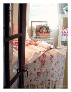 Love the idea of using a (covered) french door for the master bedroom.  So unexpected!