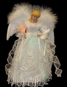 """12"""" Lighted LED Fiber Optic White and Silver Angel Christmas Tree Topper Kurt Adler http://www.amazon.com/dp/B005UJ37T2/ref=cm_sw_r_pi_dp_V7Gpub1P8B10Q"""