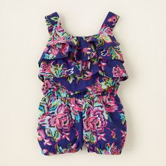 baby girl - outfits - ruffle stuff - floral ruffle romper | Children's Clothing | Kids Clothes | The Children's Place