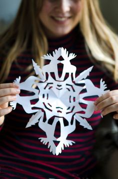 Yes, that is a moose snowflake craft, and yes, you can make one too! How to turn your winter paper crafts into fun animals!