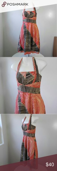 """We Love Vera Dress Anthropologie Listing is for a Study of shapes dress by We Love Vera. Tomato orange and brown abstract pattern. Halter tie.. Zipper and clasp on side.. Cotton, cotton lined.. Bust 14 with a little stretch. Lenght 40"""".. Never worn..  NO TRADES!! Bundle and Save!! Anthropologie Dresses Midi"""