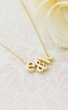 Two Tiny Gold Initials with Ampersand Necklace