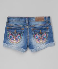 Look what I found on #zulily! Vigoss Blasted Blue Psychedelic Butterfly Denim Shorts - Girls by Vigoss #zulilyfinds