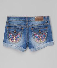 Look what I found on #zulily! Vigoss Blasted Blue Psychedelic Butterfly Denim Shorts - Girls by Vigoss #zulilyfinds